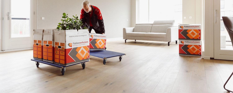 Verhuizer met verhuisdozen en een karretje